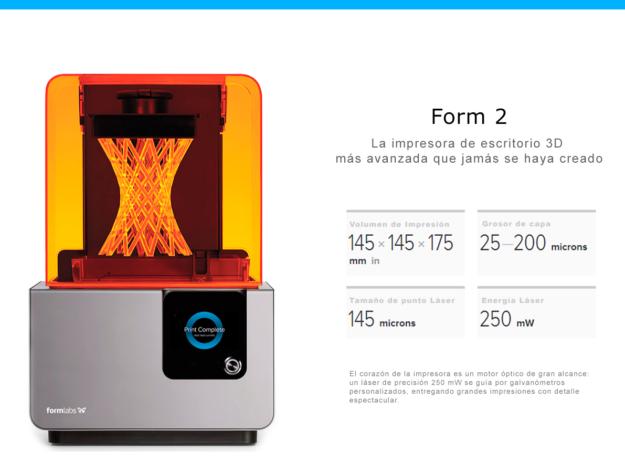 Form 2 Impresora 3d de resina - sla / láser